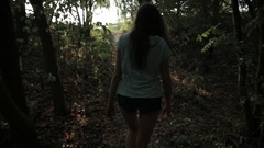 Hiking woman trekking in rainforest jungle. Female living active lifestyle Stock Footage