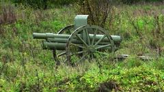 Artillery gun of the First World War in the field. 4K. Stock Footage