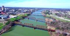 Aerial Footage - Flying West Down The Brazos Across RR Bridges Stock Footage