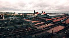 Timelapse over prague train station traffic Stock Footage