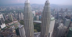 Skyscrapers in Golden Triangle Area of Kuala Lumpur, Ascending Aerial Shot Stock Footage