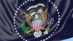 Close-up of waving flag of the President of the United States, seamless loop Stock Footage