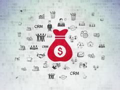 Finance concept: Money Bag on Digital Data Paper background Stock Illustration