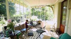 Beautiful home family balcony. Stock Footage