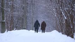 Two Elderly Women Walking In Snowfall Winter Forest Stock Footage