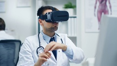 Male Doctor Conducting Experimental Medical Procedure Wearing VR Glasses Stock Footage