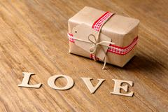 Gifts for Valentine's Day. Decorative boxes and felt hearts Stock Photos