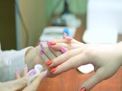 The nail design. Job manicurist. Closeup Stock Footage