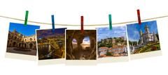 Portugal travel images (my photos) on clothespins Stock Photos