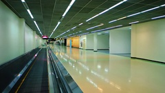 Riding the Walkalator in the Main Terminal at Don Muang International Airport Stock Footage