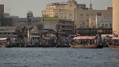 Boat Traffic on Dubai Creek, a Navigable Inlet in the City. Video 1080p Stock Footage