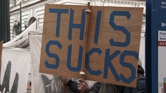 This Sucks Protest Sign Stock Footage