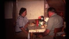 Vintage 8mm home movies, eating hamburgers Stock Footage