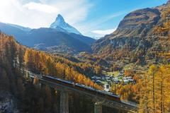 The Matterhorn, 4478m, Findelbach bridge and the Glacier Express Gornergrat, Stock Photos