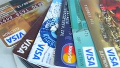 Plastic Credit Cards Visa, Mastercard, Maestro Stock Footage
