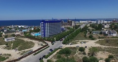 The hotel complex Aquamarine and Aqua Park Zurbagan in the Victory Park of Stock Footage