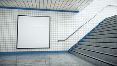 Blank Billboard On A Subway Station Entrance Stock Footage