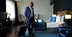 Comfortable Hotel Room for a Businessman Stock Footage