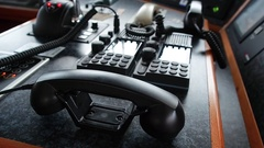 Black phone internal and external shipboard satellite and radio communication Stock Footage