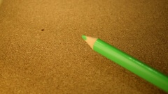 Green Colored Pencil Placement Stock Footage