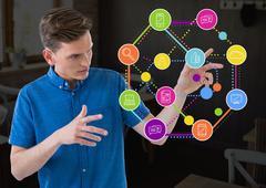 Man touching application icons Stock Photos