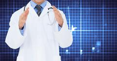 Doctor gesturing against digitally generated background Stock Photos