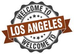 Los Angeles round ribbon seal Stock Illustration