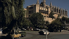 Majorca 1978: traffic under Almudaina Palace Stock Footage