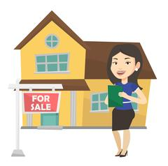 Real estate agent signing home purchase contract Stock Illustration