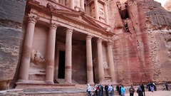 People near Al Khazneh or the Treasury at ancient Rose City of Petra in Jordan Arkistovideo