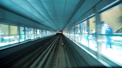 Train is approaching and enters into metro station, Dubai, United Arab Emirates Stock Footage
