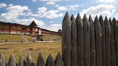 Castle in Kyivan Rus park, Kopachiv village Stock Footage