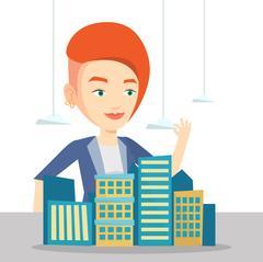 Real estate agent presenting city model Stock Illustration