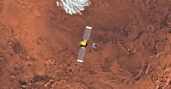 Top view of Mars Global Surveyor in orbit above Mare Australe Region (South Pole Stock Footage