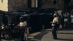 San Marino 1978: tourists walk in the city Stock Footage