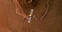 Top view of Mars Global Surveyor in orbit above Olympus Mons  Stock Footage