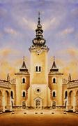 Historic church and town square, graphic work from painting Stock Illustration