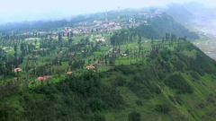 Small village located at foot of Bromo volcano. East Java, indonesia Stock Footage