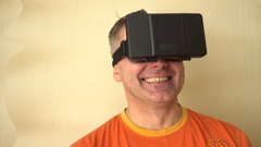 Middle age Man Experiencing Virtual Reality - 360 Movie VR Video 3D - New Stock Footage