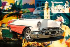 Collage of cuban landmarks and typical scenes with a classic car Stock Photos