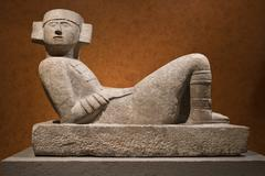 Pre-Columbian mesoamerican stone statue known as Chac-Mool Stock Photos