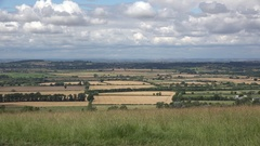 View over the English countryside from White Horse Hill, Oxfordshire, England. Stock Footage