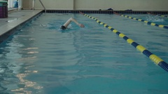 Professional swimmer in the pool.Olympic medalist in swimming pool Stock Footage