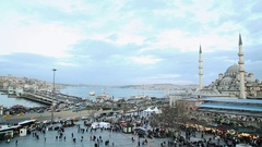 Istanbul Galata Tower and Ferries 02 Stock Footage