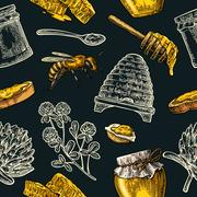 Seamless Pattern with honey, bee, hive, clover, spoon, cracker, honeycomb. Stock Illustration