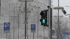 A Retro Traffic Light in Snowy Winter. Stock Footage