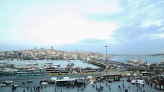 Istanbul Galata Tower and Ferries 03 Stock Footage