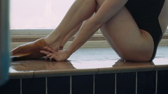 The monofin is for swimmers. Speed swimming with manofin. Stock Footage