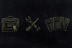 Fixing your expertise, diploma with wrench & screwdriver Stock Illustration