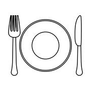 Figure fork, knife and plate icon image Stock Illustration
